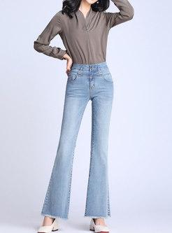 Brief Tassel High Waist Stretch Slim Flare Jeans