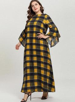 Plaid Loose Plus Size Flare Sleeve Maxi Dress