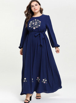 Fashion Gathered Waist Tied Long Sleeve Maxi Dress