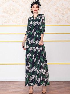 Elegant Color-blocked Print Big Hem Maxi Dress