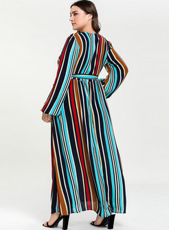 Brief Color Stripe Stitching Long Sleeve Maxi Dress