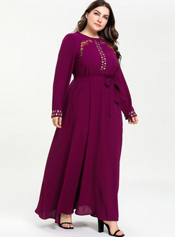Stylish Plus Size Splicing Embroidered Tied Maxi Dress