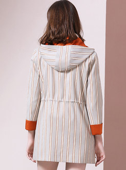 Striped Hooded Gathered Waist Drawstring Coat