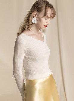 Solid Color Irregular V-neck Pullover Sweater
