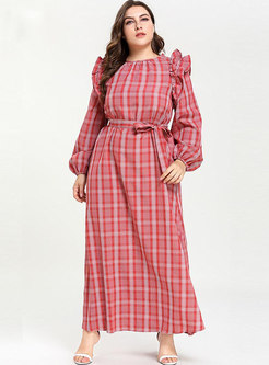 Brief Plaid Falbala Long Sleeve Loose Maxi Dress