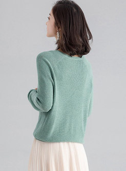 Brief Pure Color V-neck Casual Loose Sweater