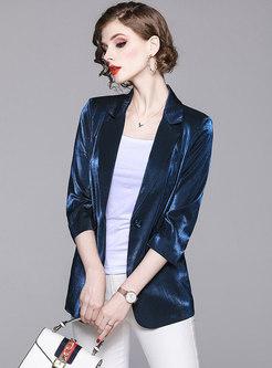 Brief Blue Lapel Long Sleeve Work Blazer
