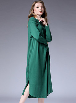 Brief Pure Color Asymmetric Split T-shirt Dress