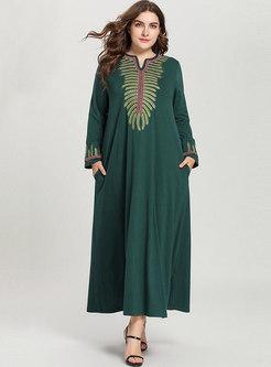 Stylish O-neck National Embroidery Maxi dress