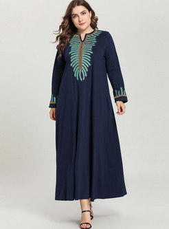 Stylish Plus Size Embroidered Long Sleeve Maxi Dress