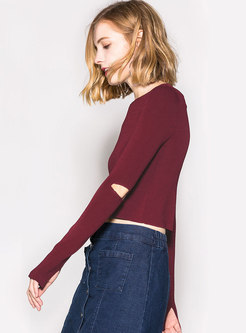 Sexy Split O-neck Off Shoulder Pullover Sweater