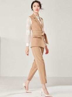 Work Pure Color Lapel Tied Vest & Slim Harem Pants