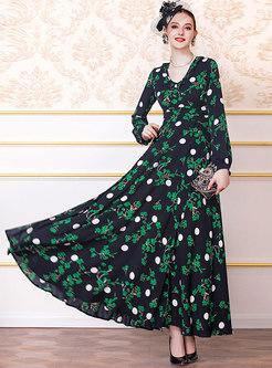 Casual Print V-neck Split Big Hem Maxi Dress