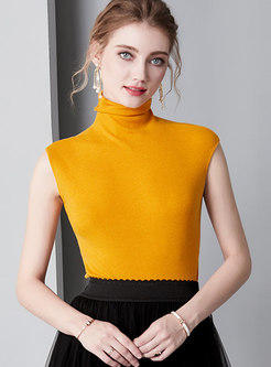 Brief Pure Color Turtle Neck Sleeveless Sweater