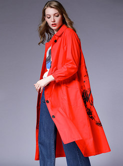 Fashion Plus Size Print Loose Trench Coat