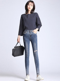Stylish Denim Hole Skinny Pencil Pants