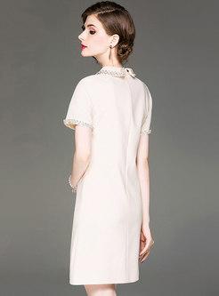 Fashion Gathered Waist Diamond Slim Skater Dress