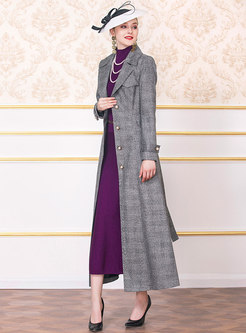 Stylish Plaid Lapel Belted Long Trench Coat