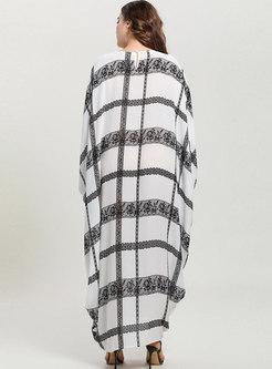 Casual Plaid Bat Sleeve Comfortable Maxi Dress