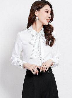 Brief Work Tied Bowknot Long Sleeve Blouse
