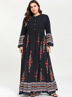 O-neck Color-blocked Print Casual Maxi Dress