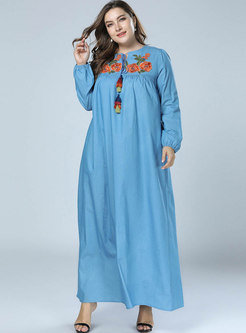 Denim Loose O-neck Embroidered Big Hem Maxi Dress
