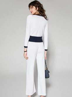 Stylish White Single-breasted Top & Knitted Wide Leg Pants