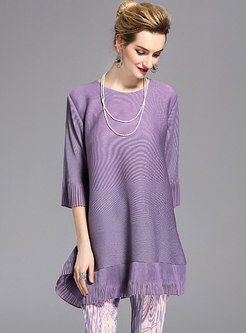 Brief O-neck Pure Color Loose Pleated T-shirt