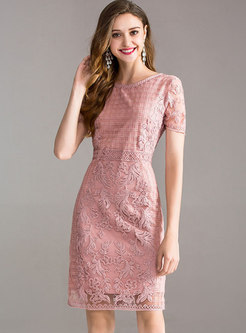Stylish Mesh Embroidered Splicing Bodycon Dress