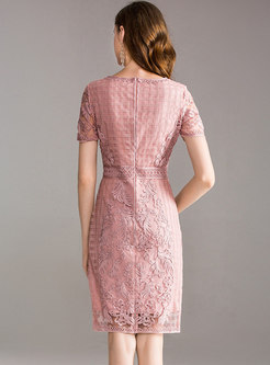 Mesh Embroidered Bodycon Cocktail Dress