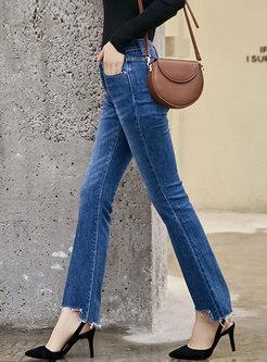 Asymmetrical Autumn High Waist Slim Flare Pants