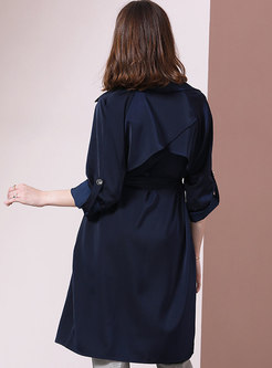 Solid Collar Slim Tied Thin Trench Coat