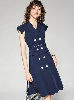 Stylish Lapel Blue Double-breasted Split Skater Dress