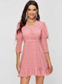 Chic V-neck Pink Polka Dot High Waist Skater Dress