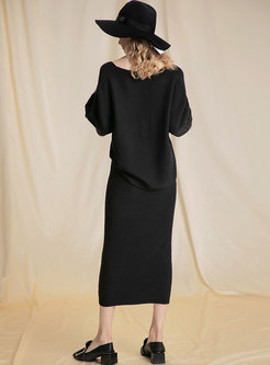 Stylish Black V-neck Comfortable Knitted Two Piece Dress