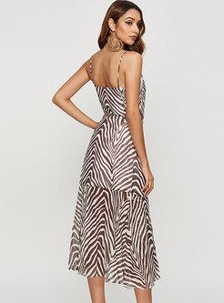 Sexy V-neck Backless Print Chiffon Slip Dress