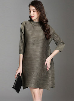Solid Color Split Loose Pleated Shift Dress