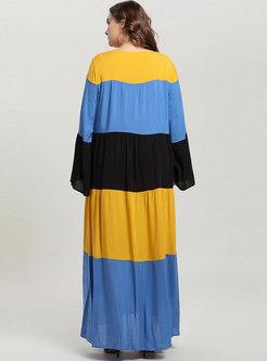 Color-blocked Splicing Big Hem Maxi Dress