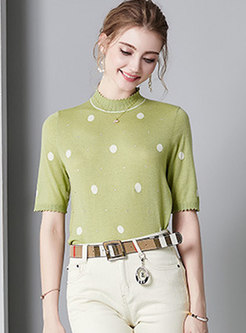 Brief Polka Dot Autumn/Winter Beaded Sweater