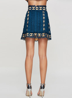 Casual Beaded Embroidered High Waist Slim A Line Skirt
