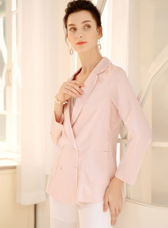 Casual Pink Lapel Diamond Slim Blazer