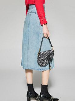 Denim High Waist Single-breasted Slim Skirt
