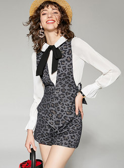Chic Leopard Lapel Irregular Three-piece Suit
