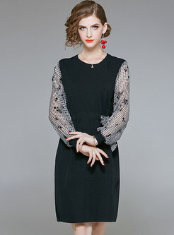 O-neck Print Gathered Waist Splicing Knitted Dress