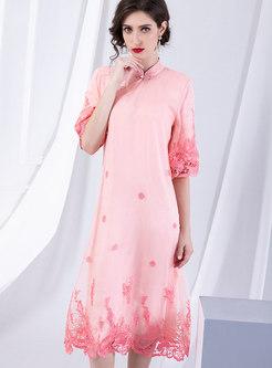 Trendy Embroidered Mandarin Collar Splicing Shift Dress