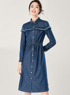 Stylish Lapel Denim Gathered Waist T-shirt Dress