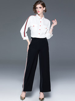 Casual Lapel Blouse & Striped Splicing Straight Pants