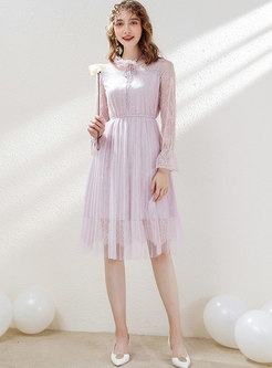 Stylish Lace Hollow Out Tied Pleated Dress