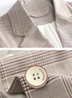 Trendy Plaid Three Quarters Sleeve Straight Blazer