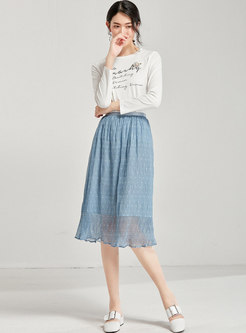 Star Print High Waist Slim Sweet Chiffon Skirt